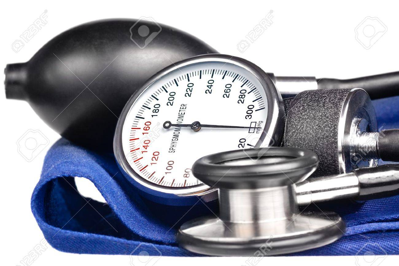 Sphygmomanometer and stethoscope kit used to measure blood pressure isolated on white Stock Photo - 11993436