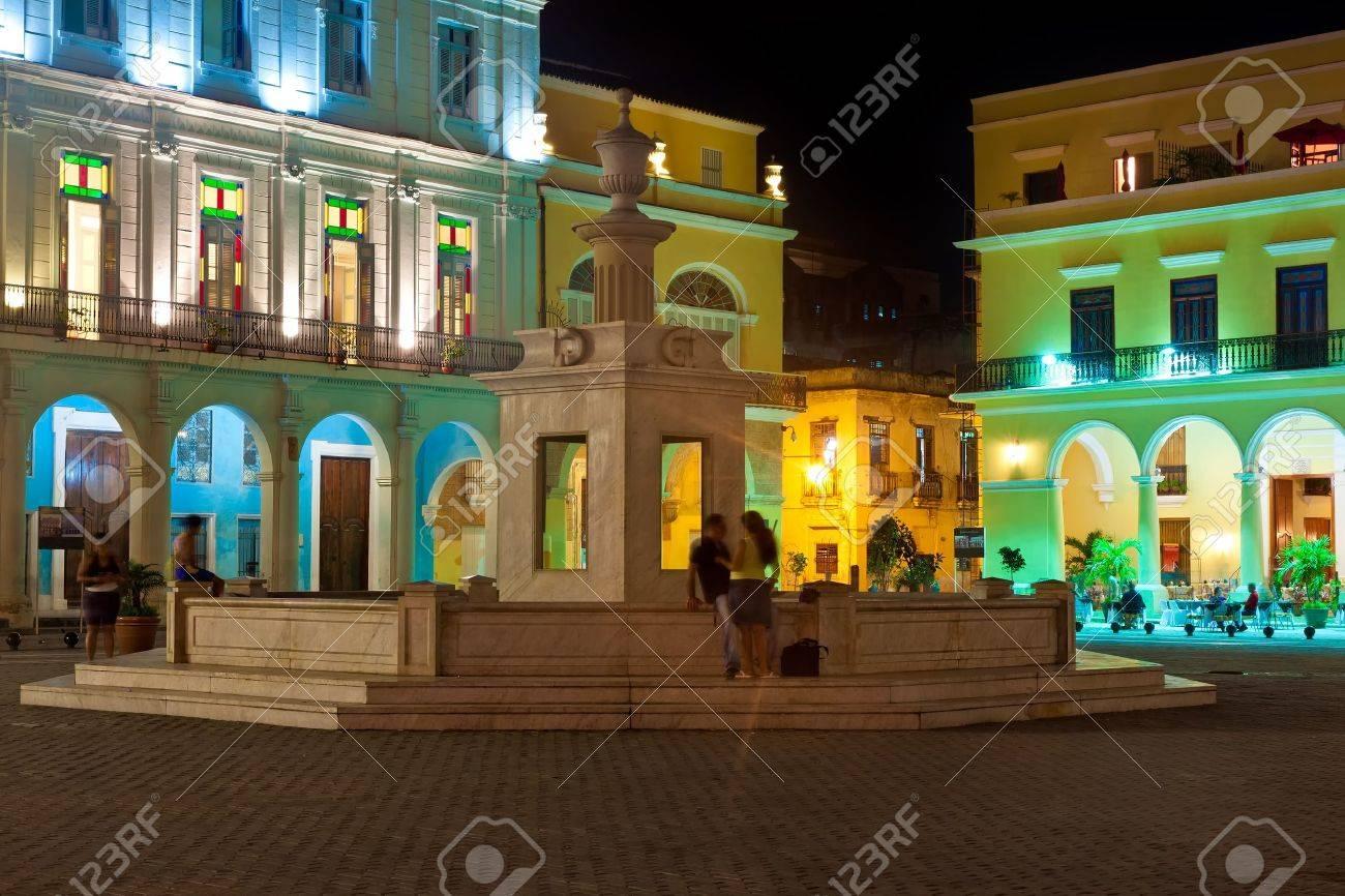 La Plaza Vieja or Old Square , a well known touristisc landmark in Old Havana illuminated at night Stock Photo - 12450853