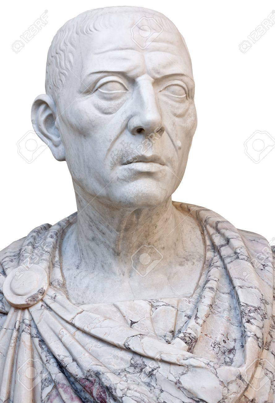 Ancient marble statue of the roman emperor Julius Caesar isolated on a white background with clipping path Stock Photo - 12450857