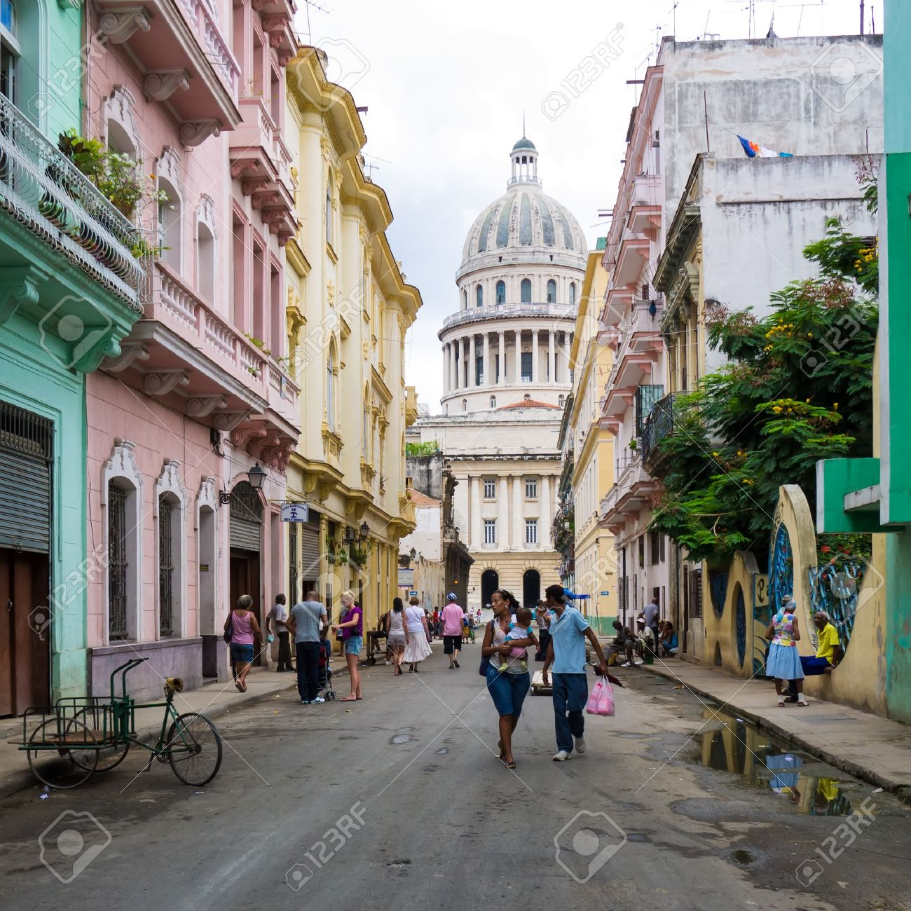 Cuban people in a street leading to the Capitol in Havana Stock Photo - 15294819