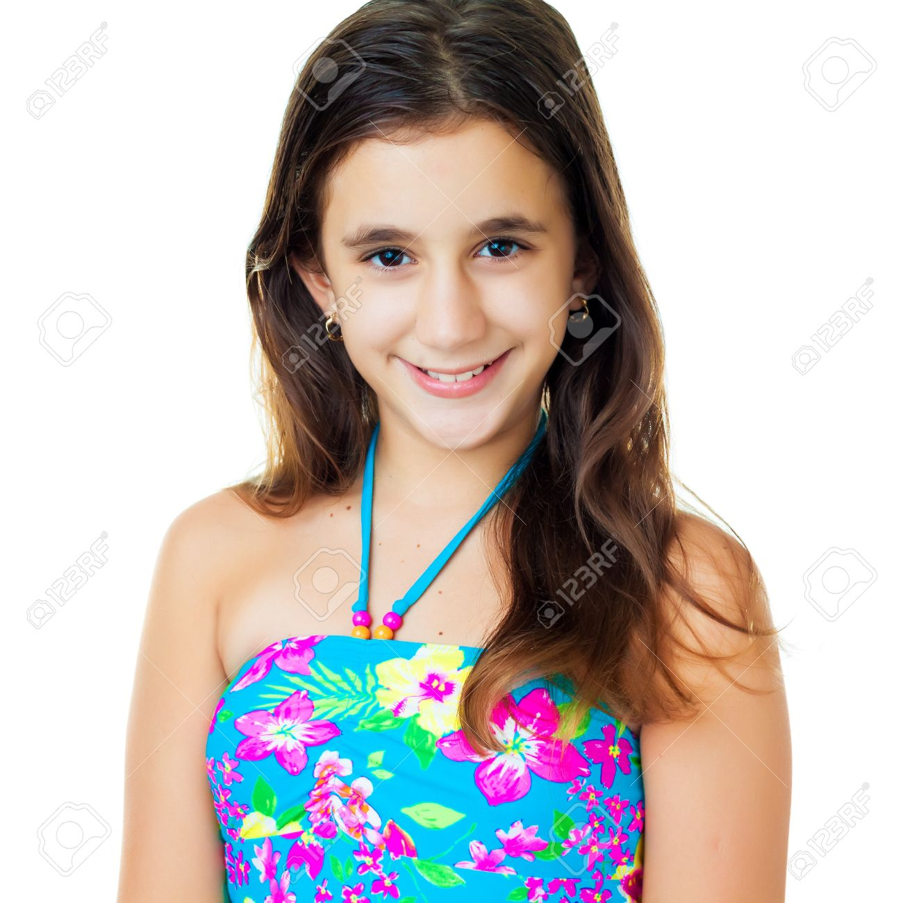 Portrait of a beautiful hispanic teen wearing a swimsuit isolated on white Stock Photo - 15367805