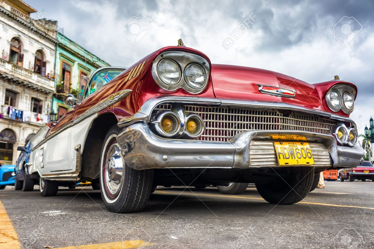 Low Angle View Of An Old Chevrolet In Havana Thousands Of These ...