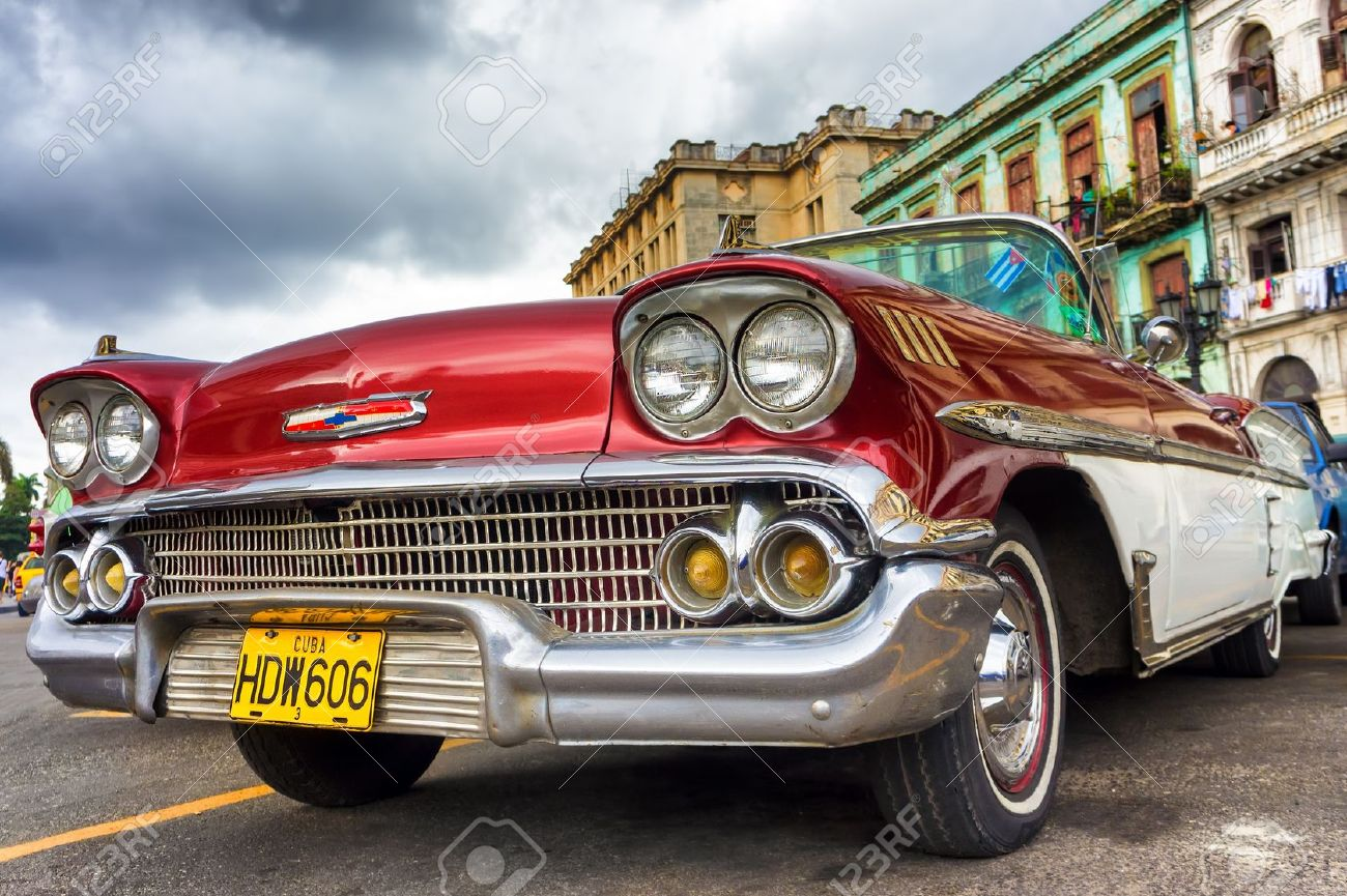 Old Red Chevrolet Near The Capitol In Havana Thousands Of These ...