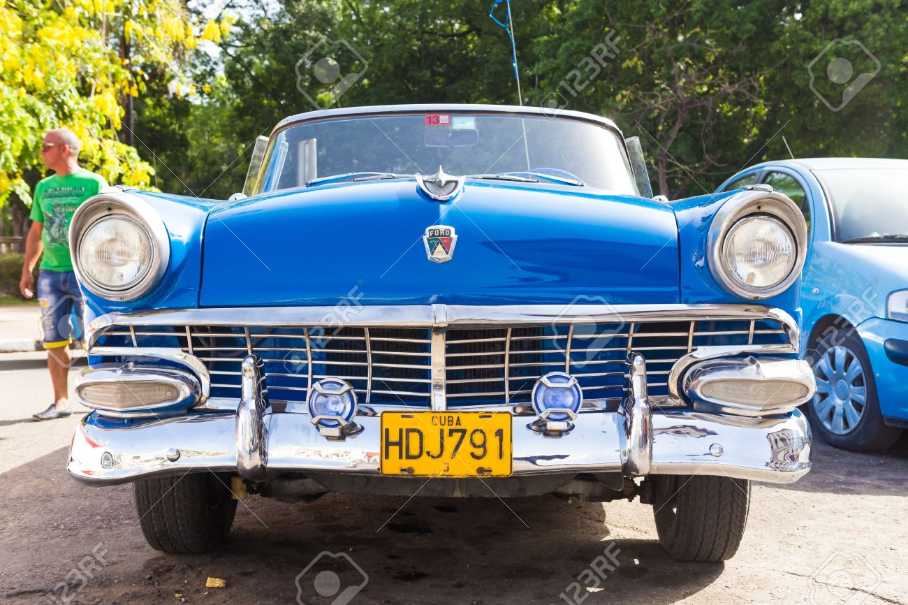 Front View Of An Old Convertible Car On June 21, 2013 In Havana ...