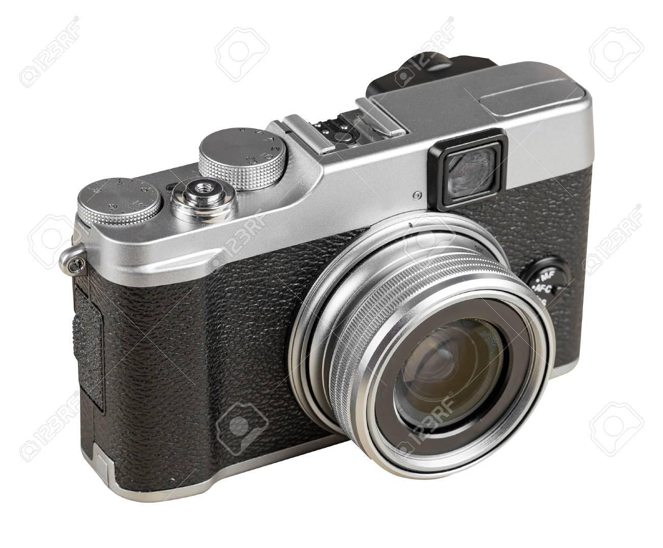 Weinlese entfernungsmesser stil kamera isoliert auf weiß mit
