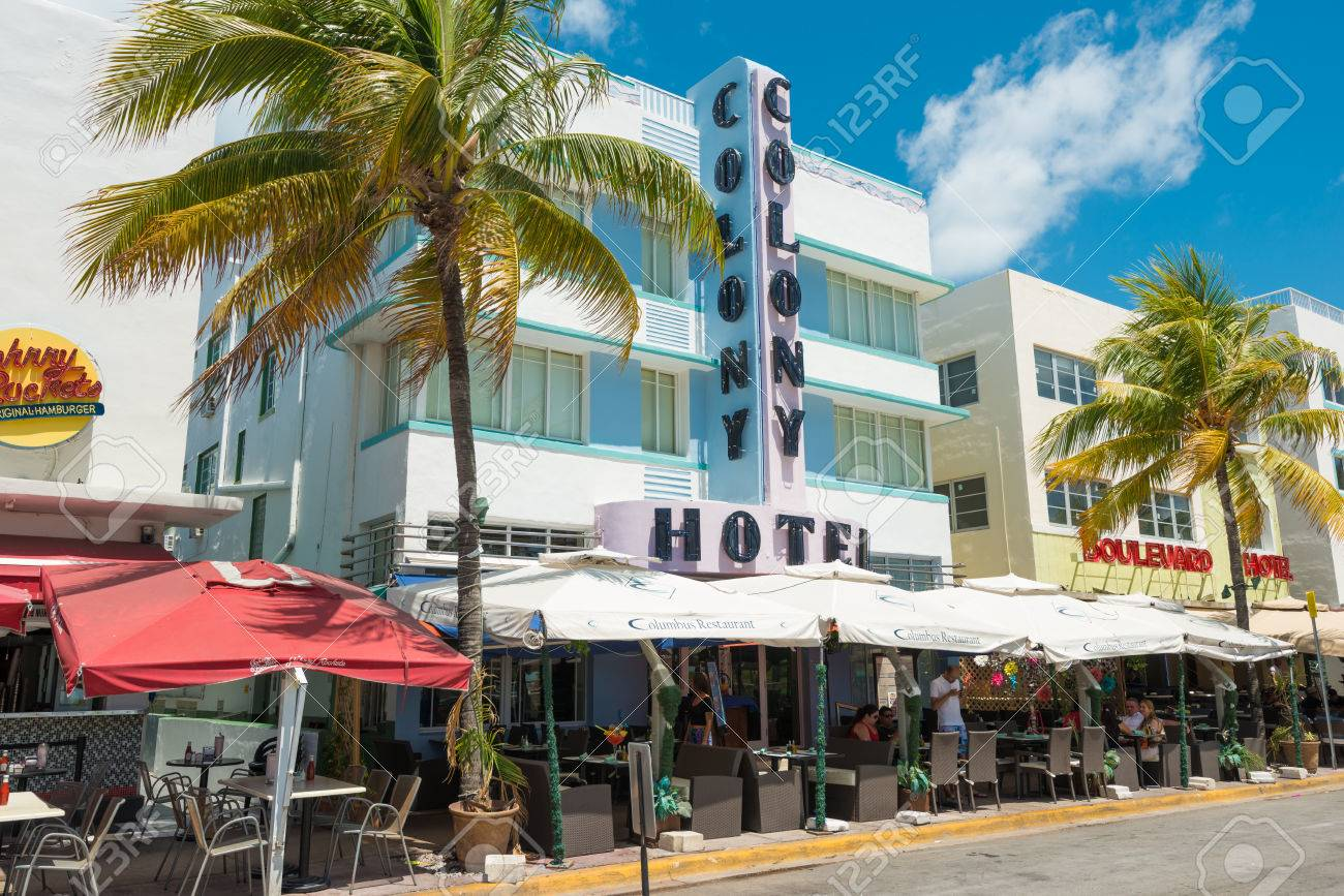 miami usa may 21 2014 the colony hotel at ocean drive in stock