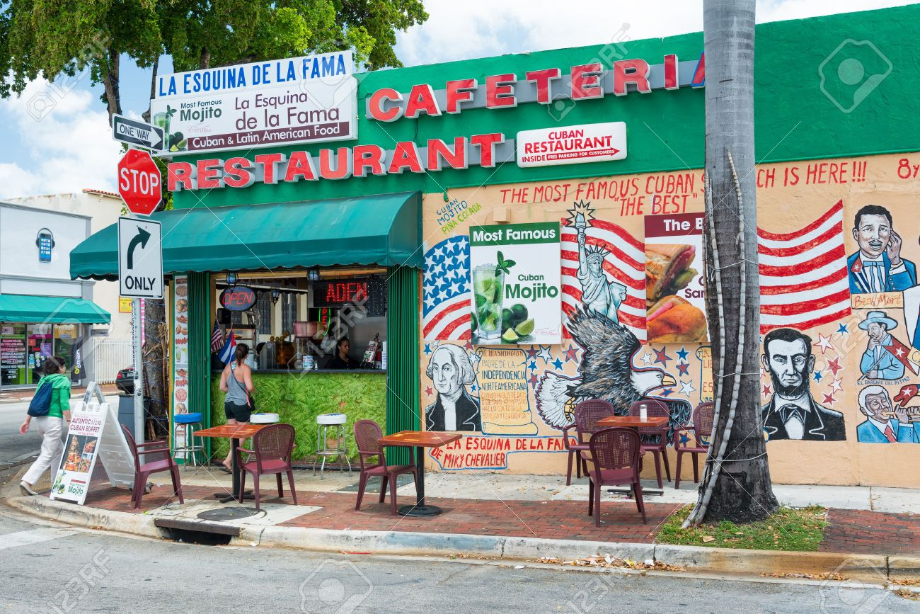 Typical Cuban Restaurant Serving Mojitos In Little Havana Miami