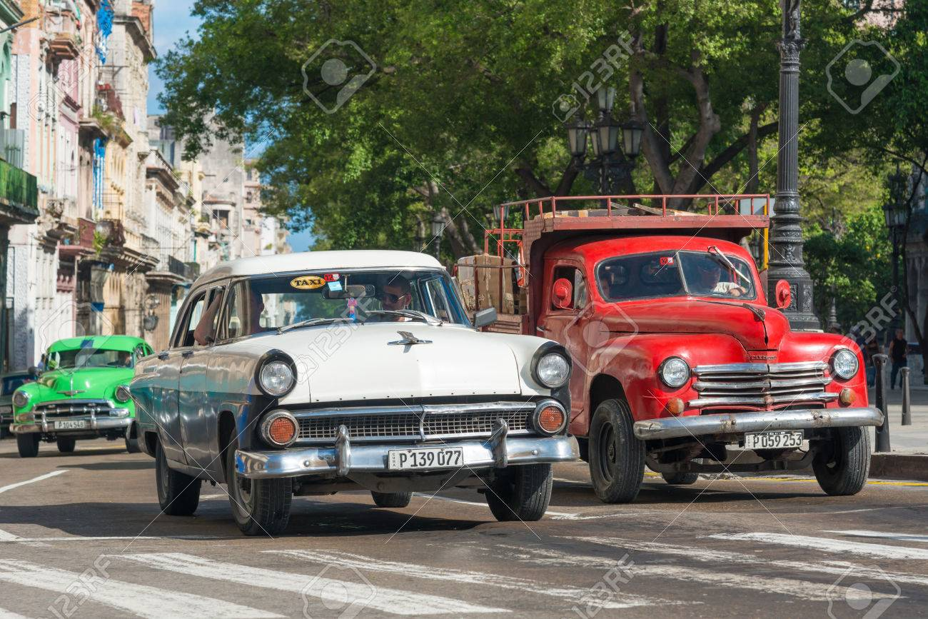 Old Classic Cars Used A Taxis In Havana Stock Photo, Picture And ...