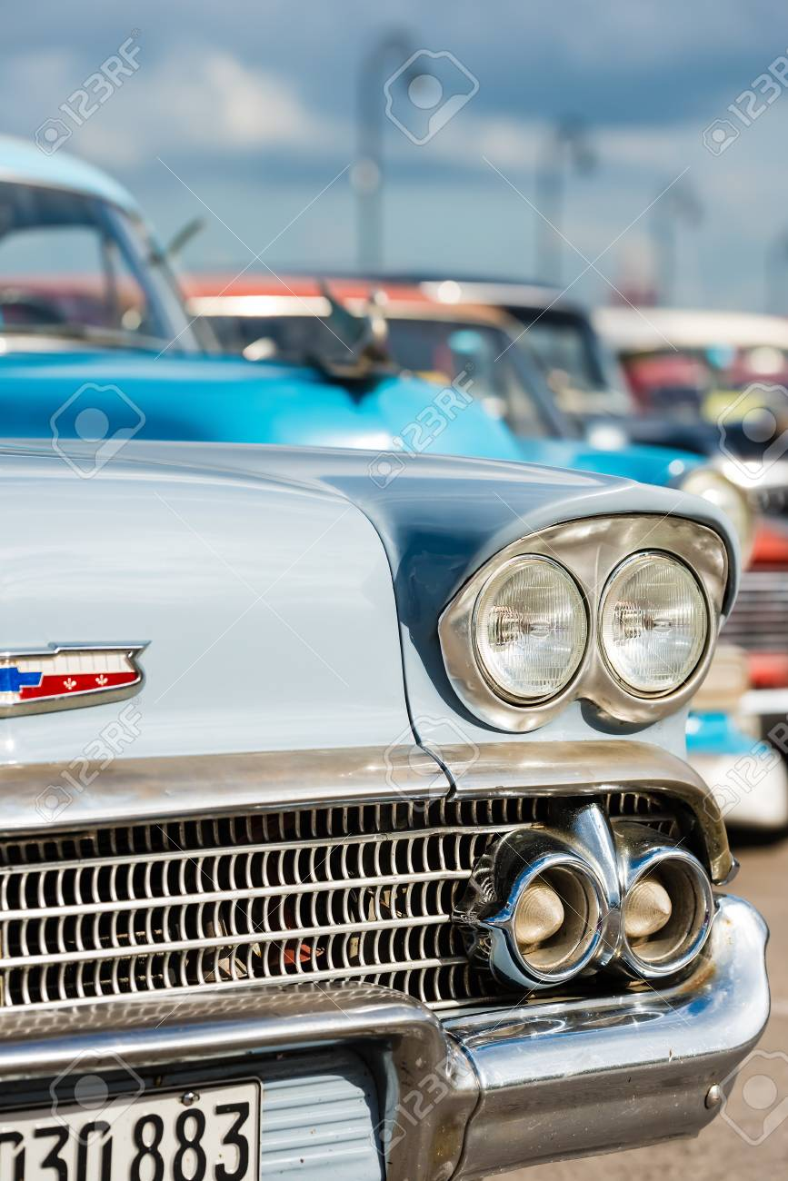 Classic Chevrolet And Other Vintage American Cars In Havana Stock ...
