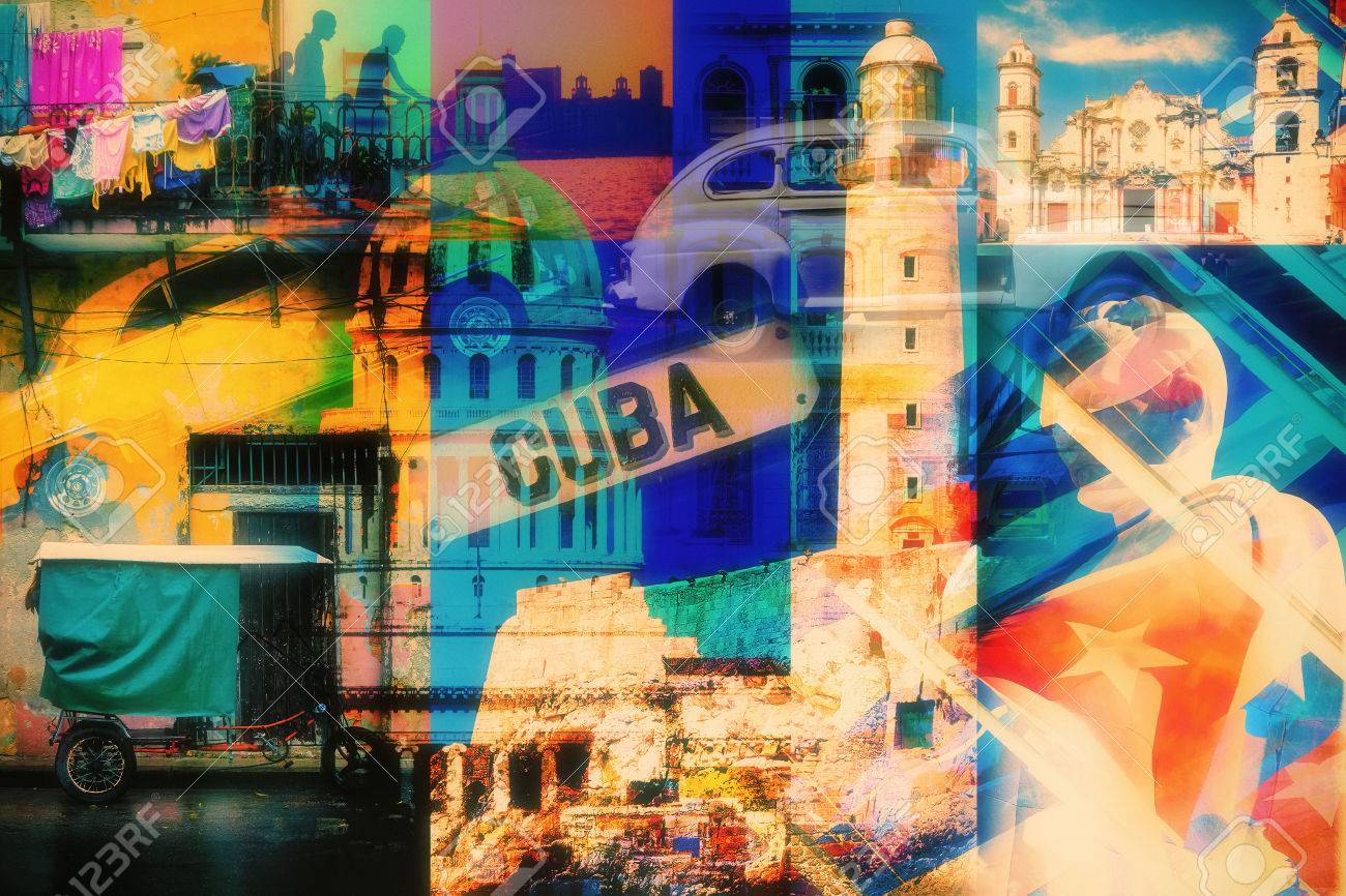 Colorful Collage Of Havana Cuba Images With Most Its Famous Landmarks Stock Photo