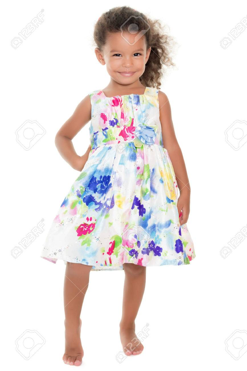 34c11786185a2 Cute small girl wearing a flowers summer dress isolated on white Stock  Photo - 42288529