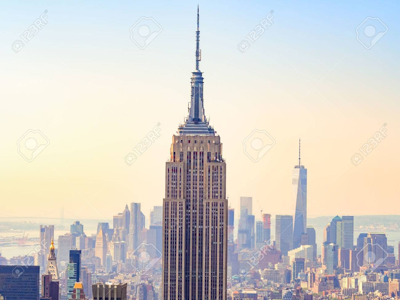 Sunset over the Empire State Building and New York City - 45025164