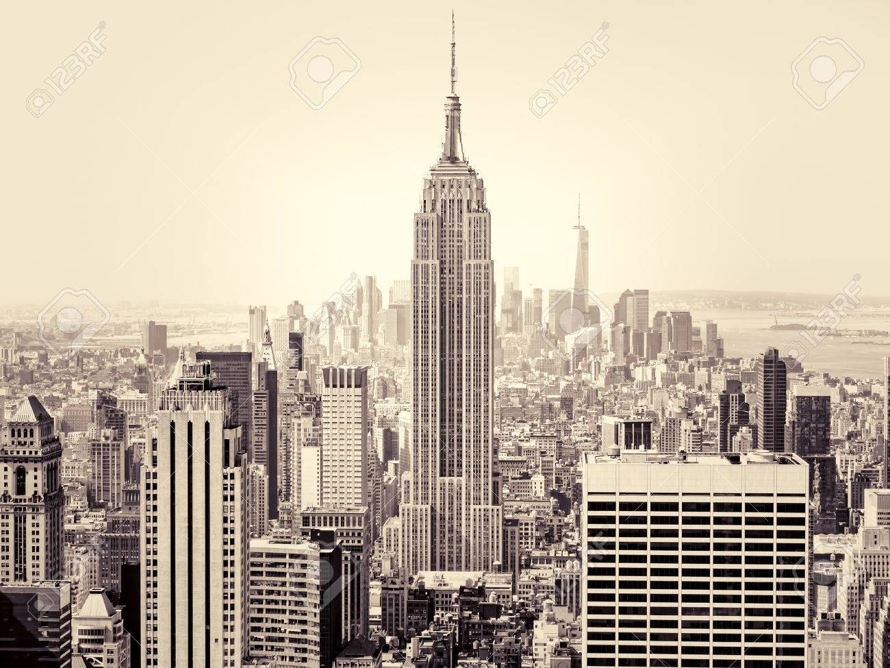 Aerial view of New York City with the Empire State Building on the foreground - 45213771