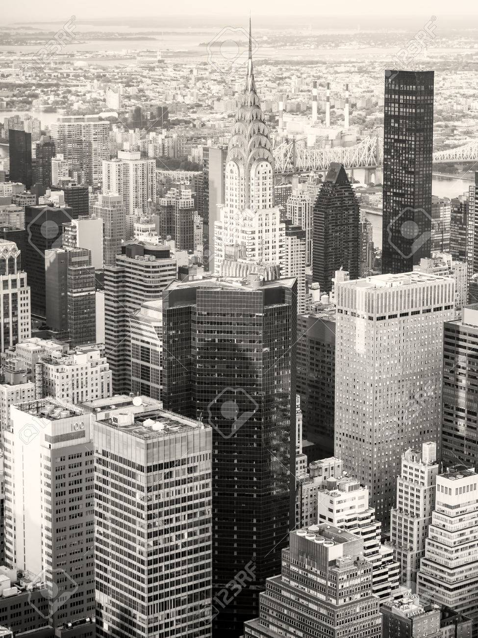 Black And White View Of New York City Including The Chrysler Building Stock Photo