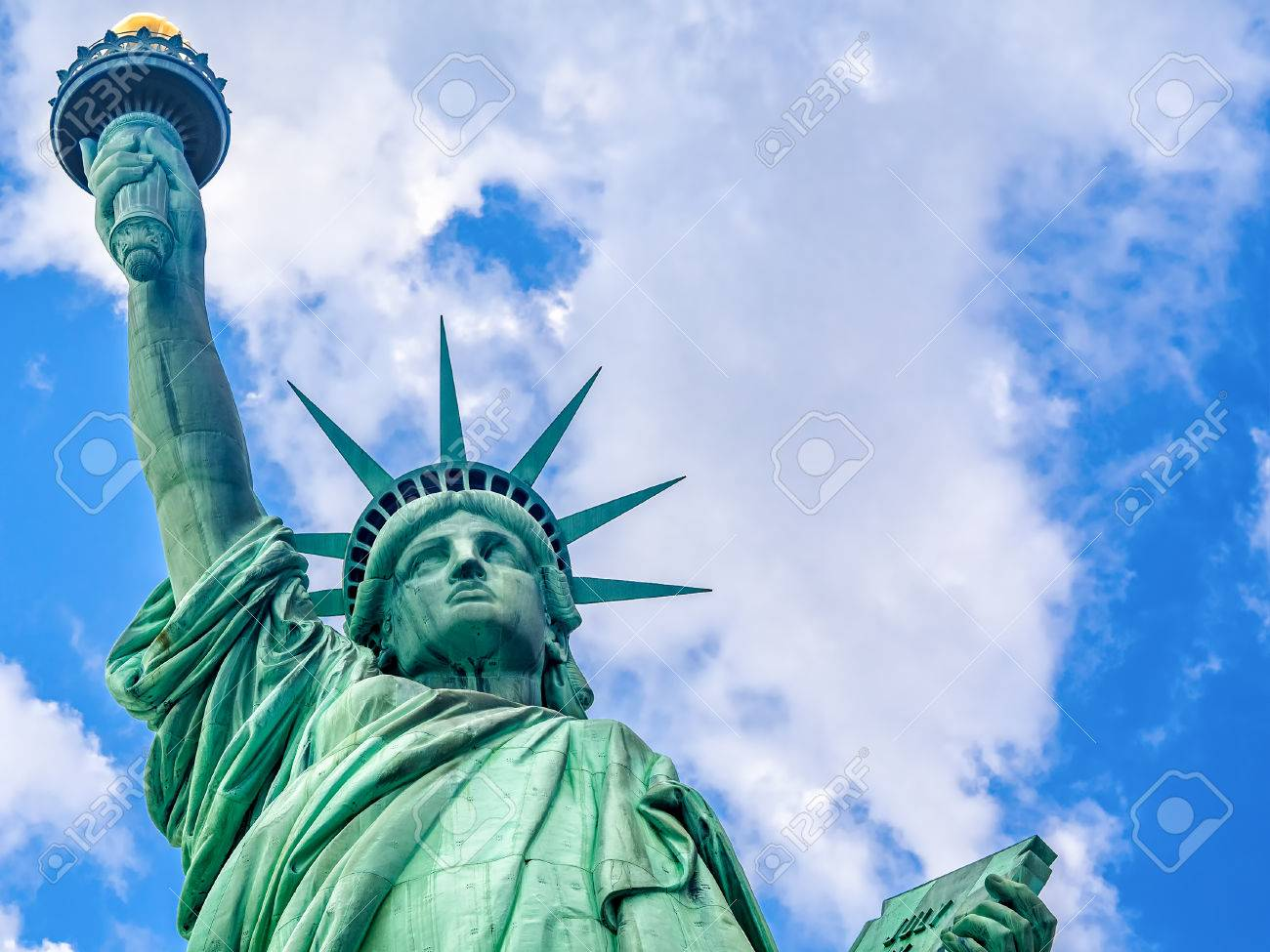 Close up of the The Statue of Liberty in New York with a beautiful sky - 48962873
