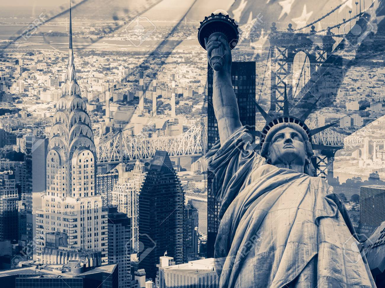 New York City United States Of America Collage Containing Stock