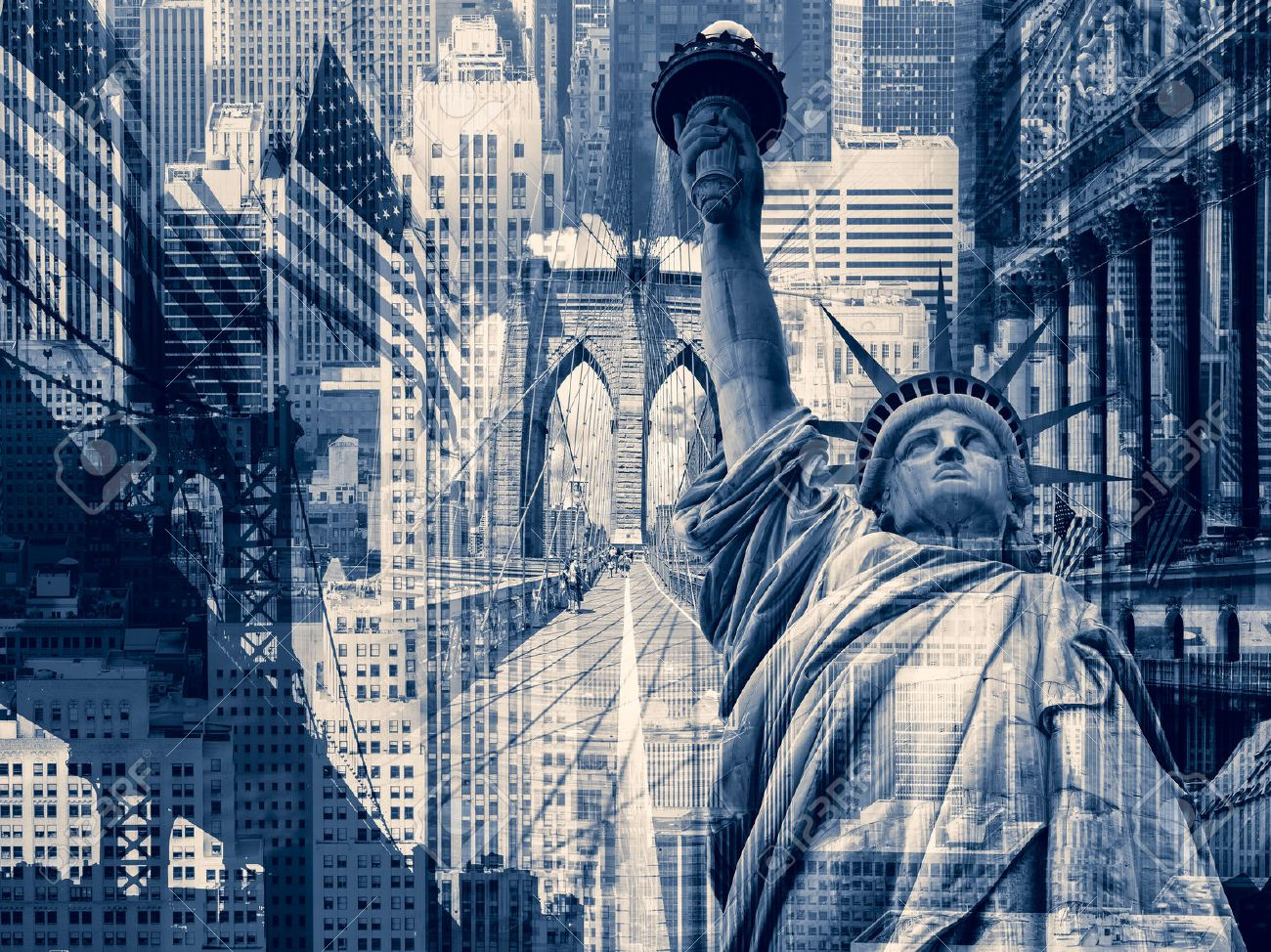 New York City, United States of America - Decorative collage containing several New York landmarks - 49170707