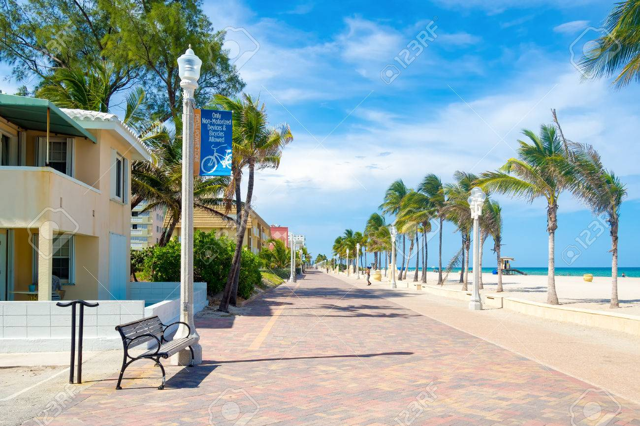 The famous Hollywood Beach boardwalk in Florida - 50062209