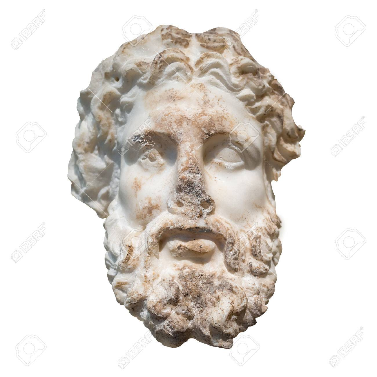 marble head of the greek god zeus isolated on a white background