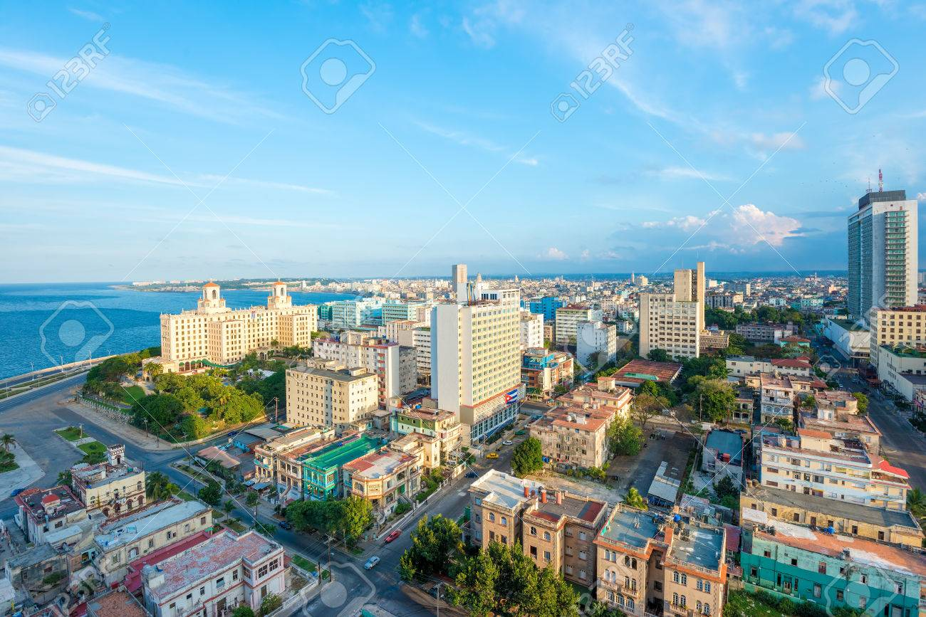 Aerial view of the city of Havana including the Vedado neighborhood and several tourist attractions - 50062240