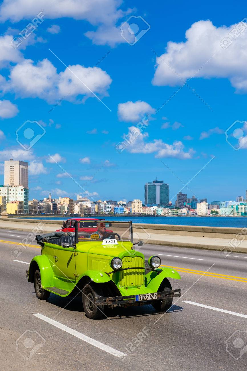 Old Convertible Car On The Havana Malecon Avenue With A View ...