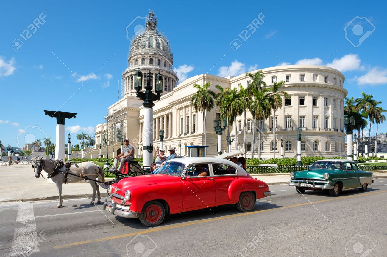 Old Classic Cars Next To The Capitol In Downtown Havana Stock Photo ...