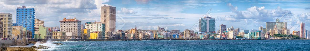 High resolution panoramic view of the Havana skyline and the famous seaside Malecon avenue - 65436213