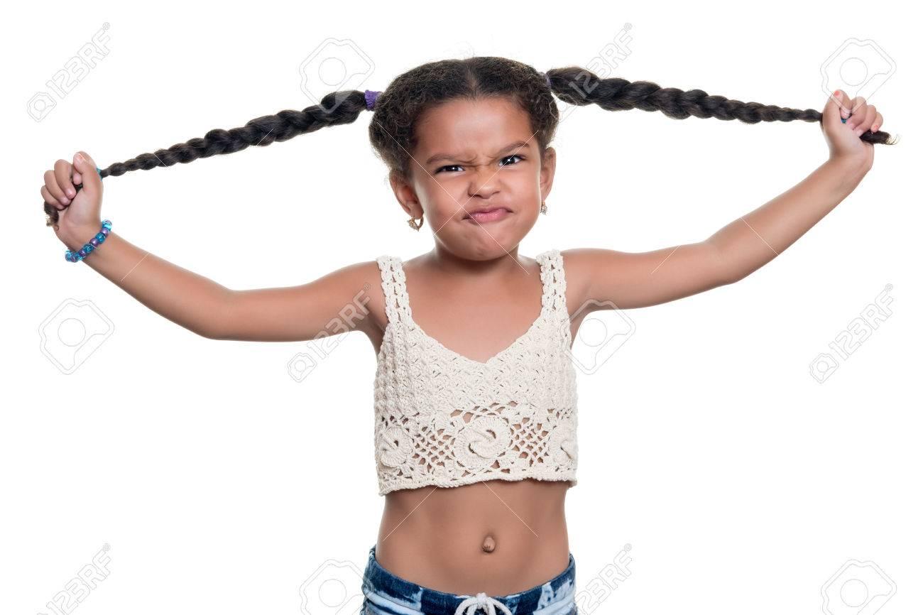 Nette Afroamerikaner Kleine Mädchen Mit Einem Lustigen Gesicht