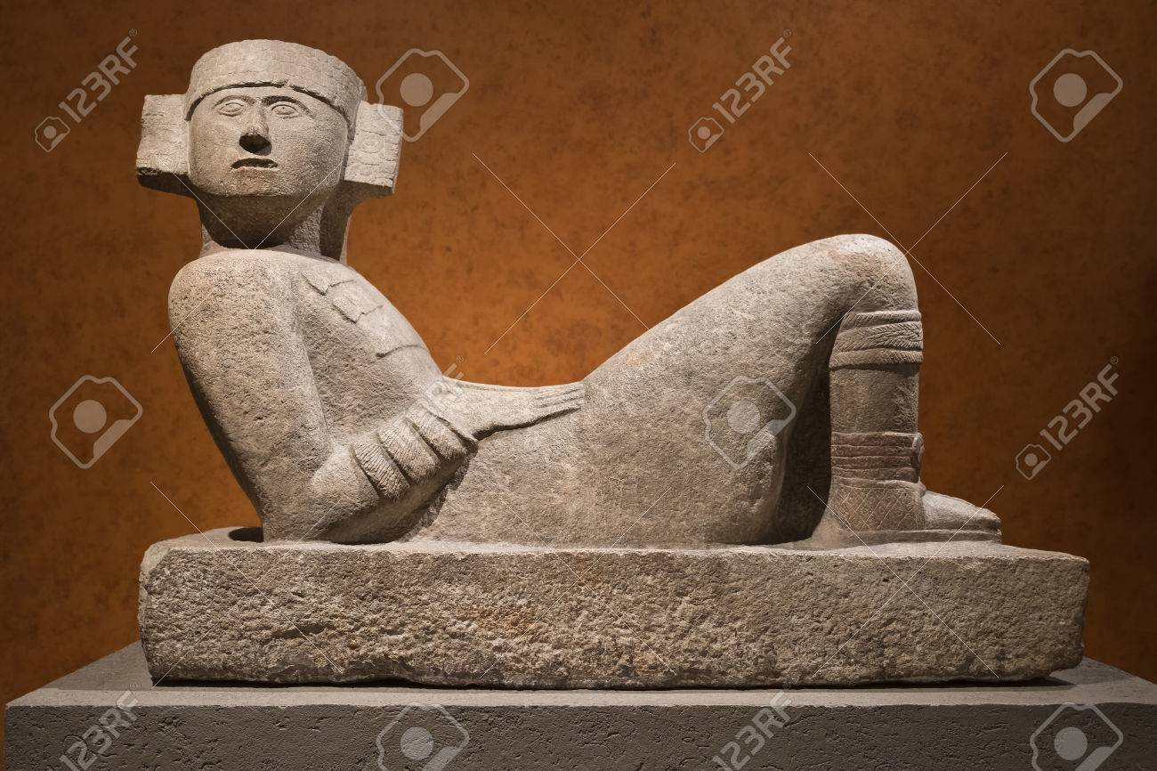 Pre-Columbian mesoamerican stone statue known as Chac-Mool at the National Anthropology Museum in Mexico City - 71286853