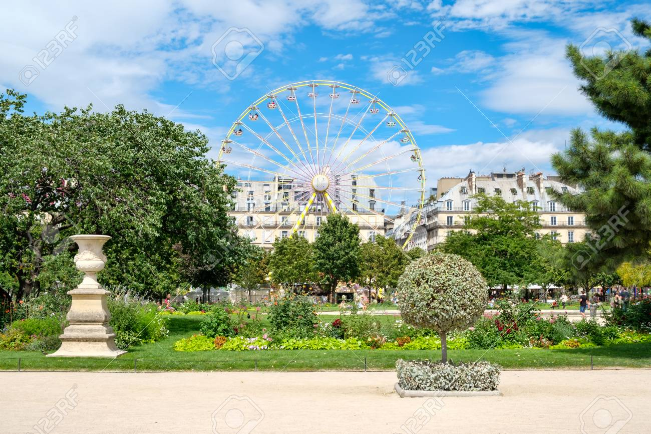 stock photo the tuileries garden on a beautiful summer day in paris - Tuileries Garden