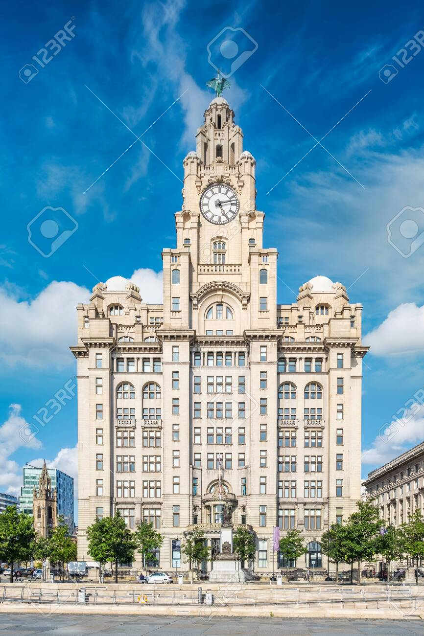 The Royal Liver Building, a symbol of the city of Liverpool - 150299017