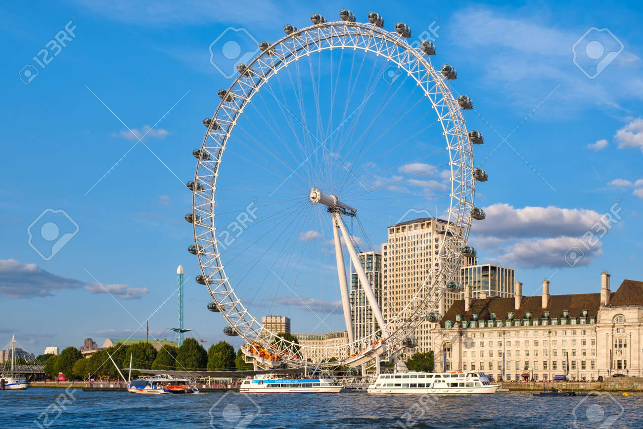 The Southbank and The London Eye on a beautiful summer day - 152053431
