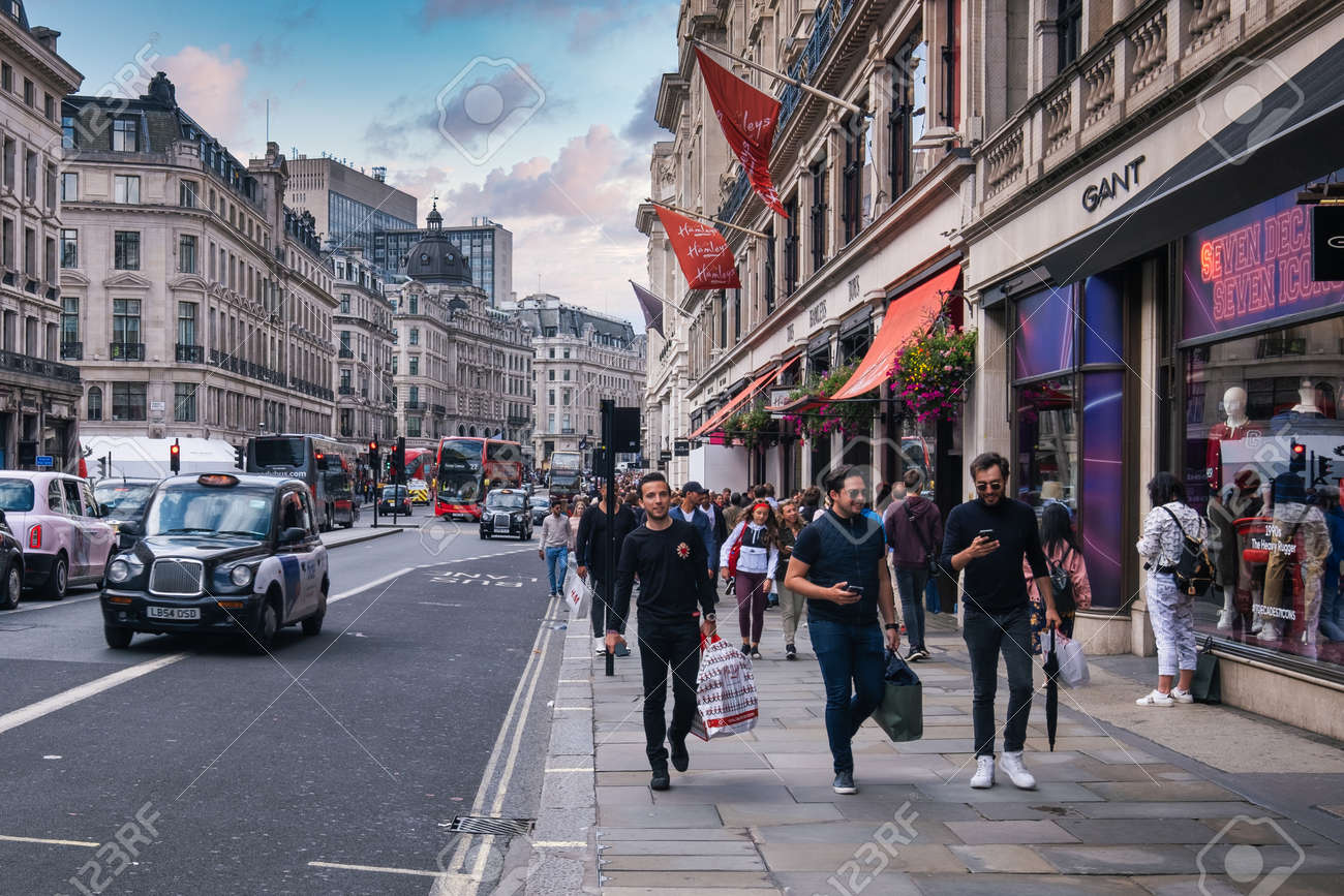 Regent Street in London , one of the world most prestigious shopping and lifestyle destinations - 152053436