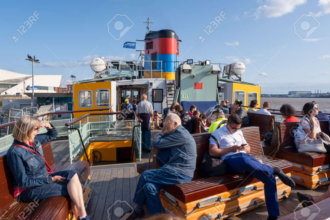 Passengers at the Mersey Ferry in Liverpool - 158962819