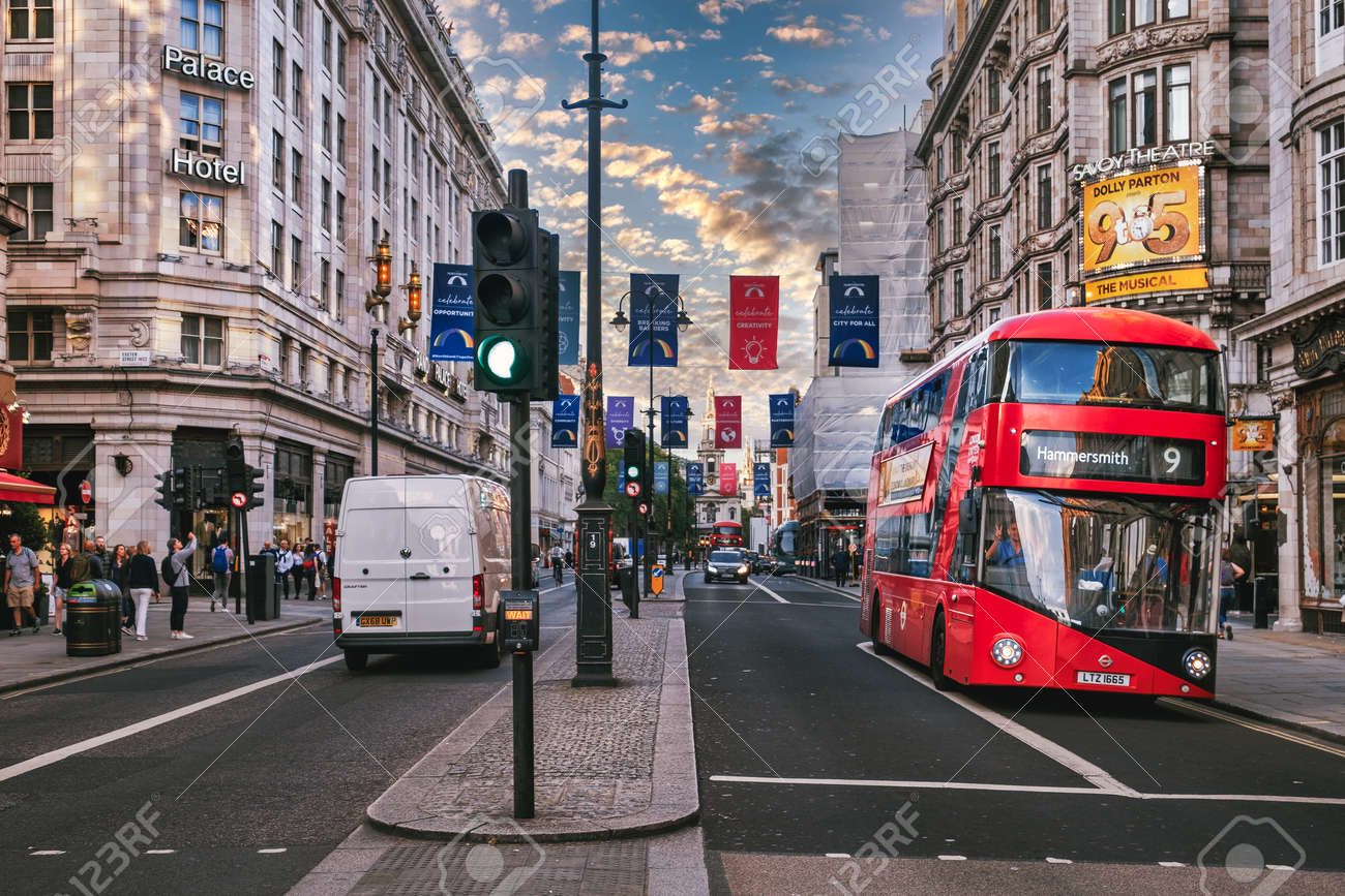 Street scene with double decker bus at The Strand in London - 158962813