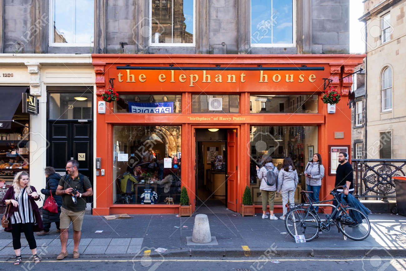 The Elephant House coffee house at Edinburgh, famous for being one of the places where JK Rowling wrote the Harry Potter books - 158962808