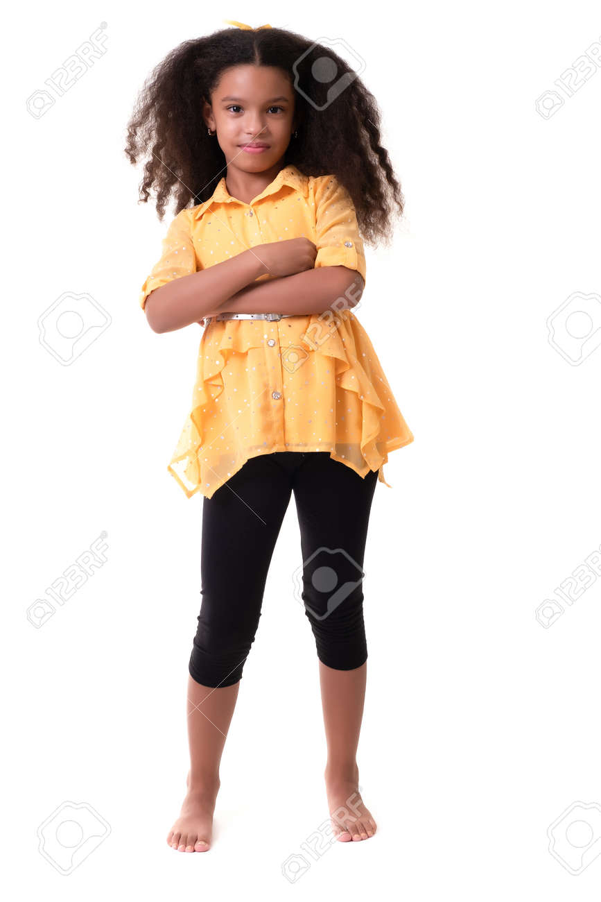 Portrait of a trendy multiracial small girl isolated on a white background - 159498823