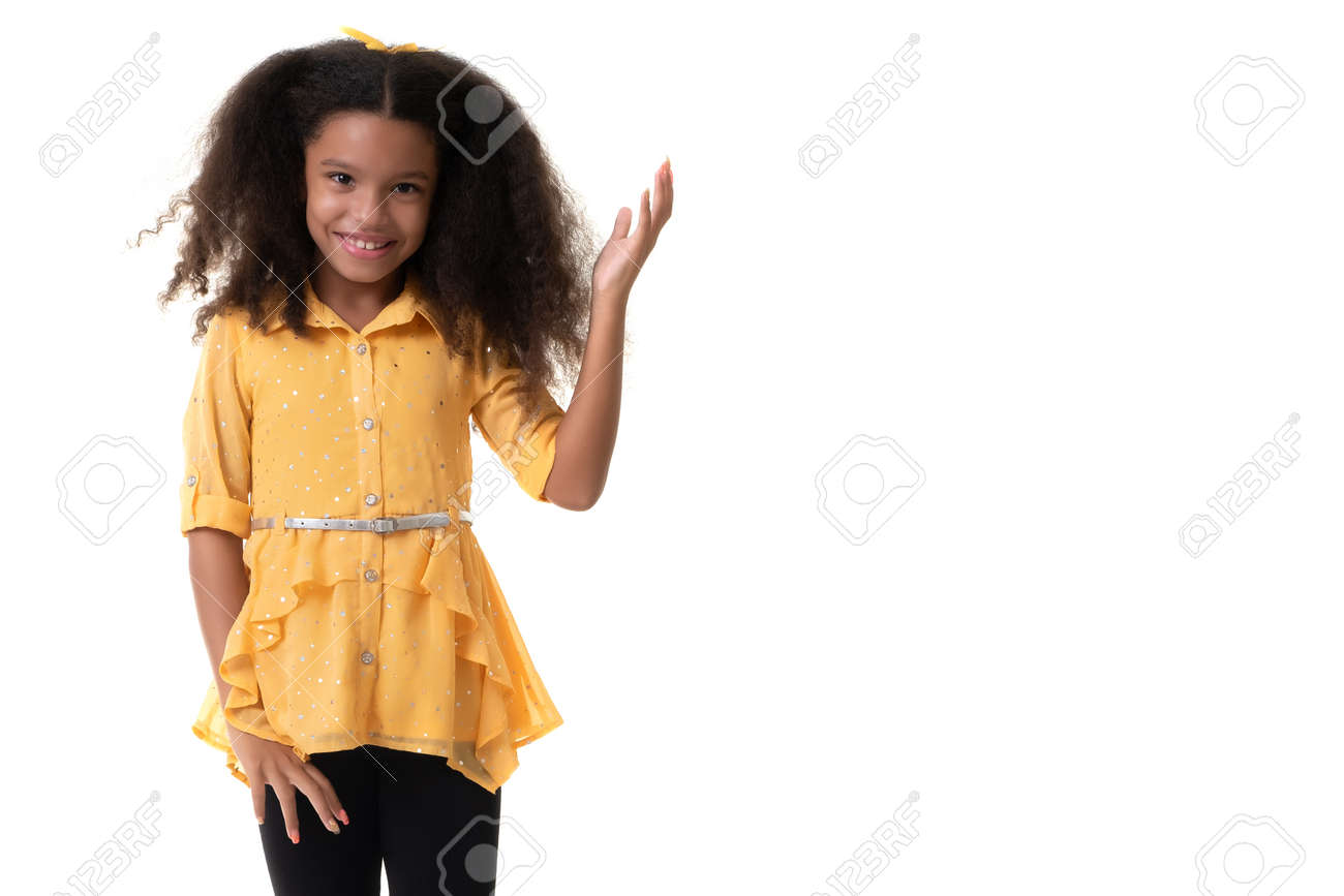 Cute multiracial small girl with a beautiful curly hair - Isolated on a white background - 159904546