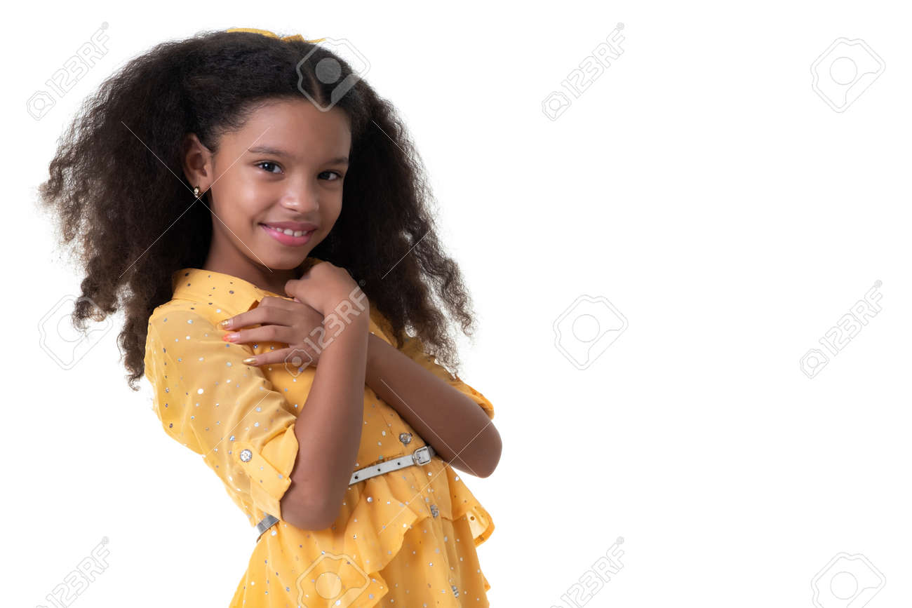 Portrait of a cute multiracial small girl with beautiful curly hair - Isolated on white - 159904535