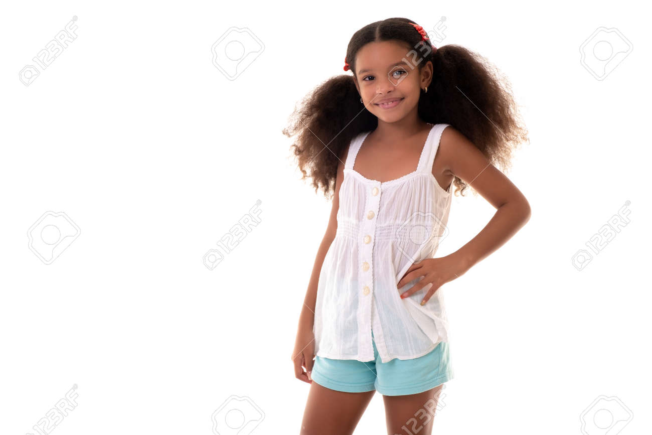 Cute multiracial small girl wearing casual summer clothes - Isolated on a white nackground - 163555143