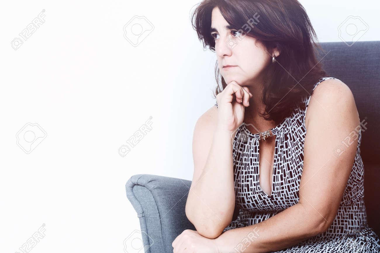 Portrait of a sad hispanic woman - with space for text - 163424064