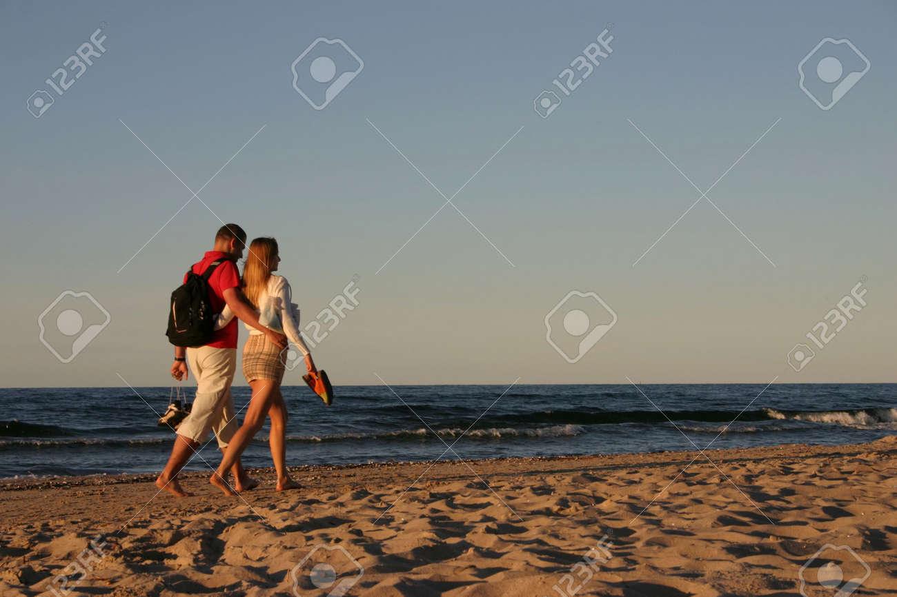 couple during a beach stroll Stock Photo - 352891