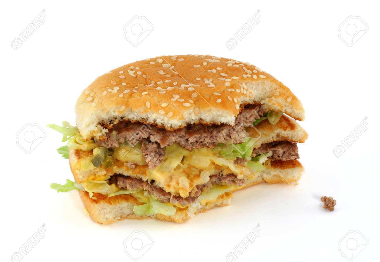 half-eaten delicious hamburger Stock Photo - 593339