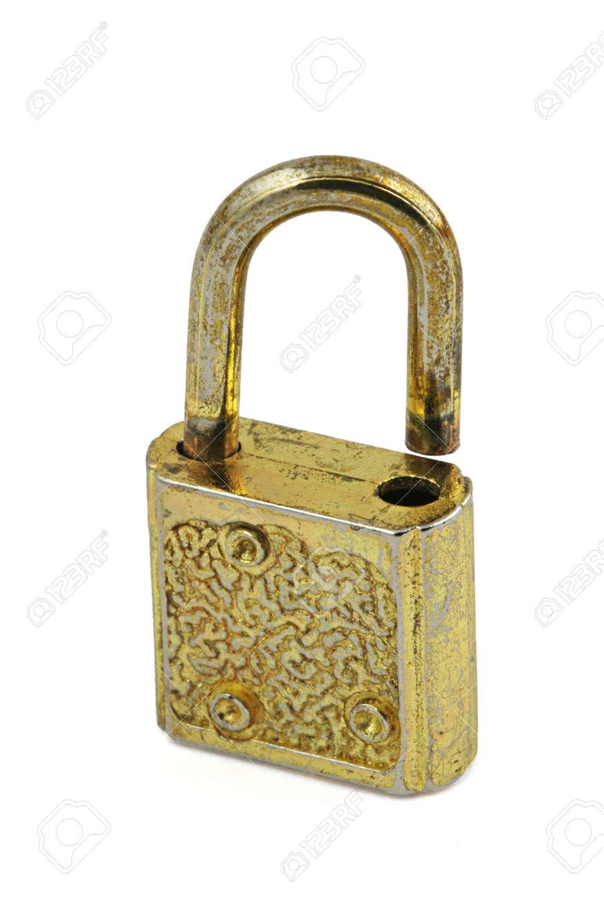 macro of vintage padlock in open position Stock Photo - 612892
