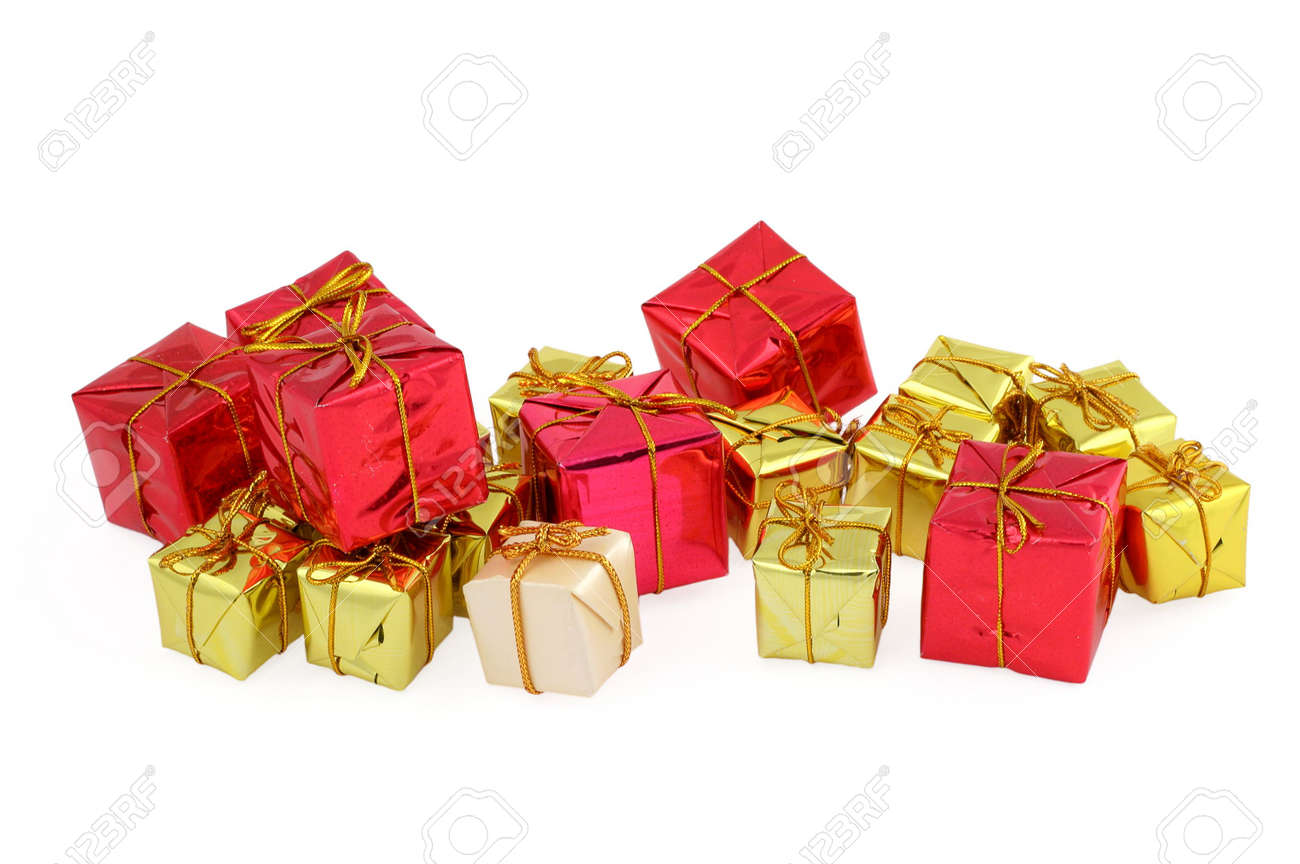 Group Of Various Christmas Gifts On White Stock Photo, Picture And ...