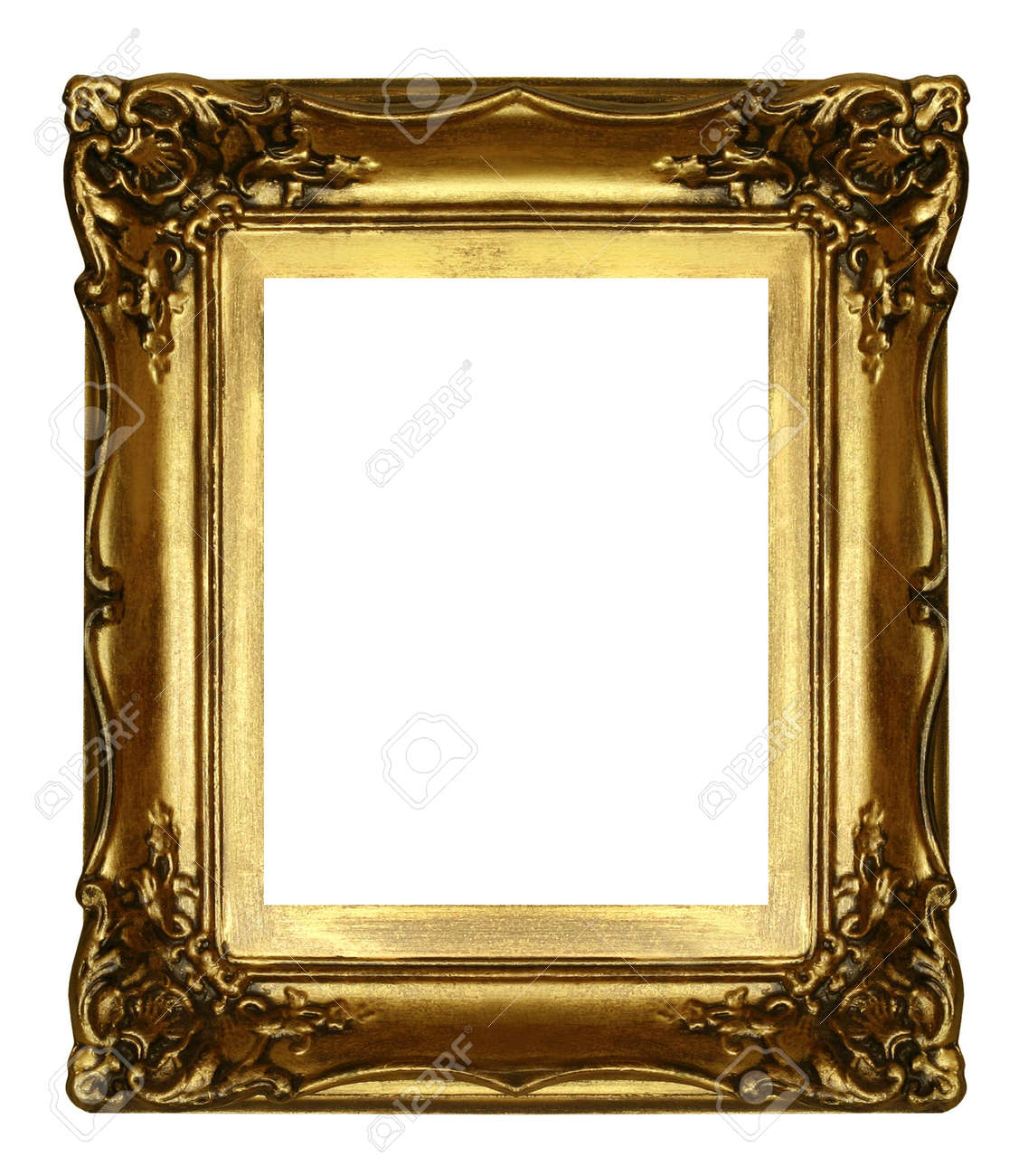 old sculpted golden frame isolated on white Stock Photo - 819083