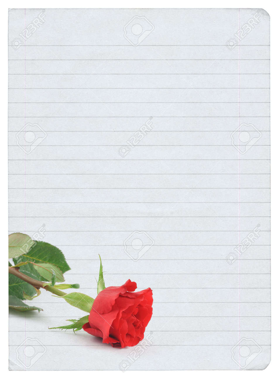 Blank Love Letter Isolated On Pure White Background, Photo Inside