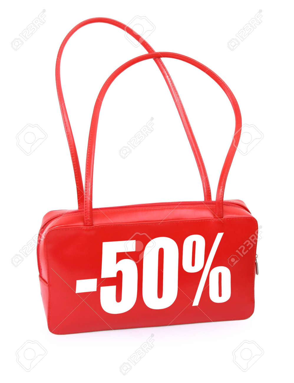 red leather handbag with red sale sign on white background, minimal natural shadow in front, the photo does not infringe any copyright Stock Photo - 2466564