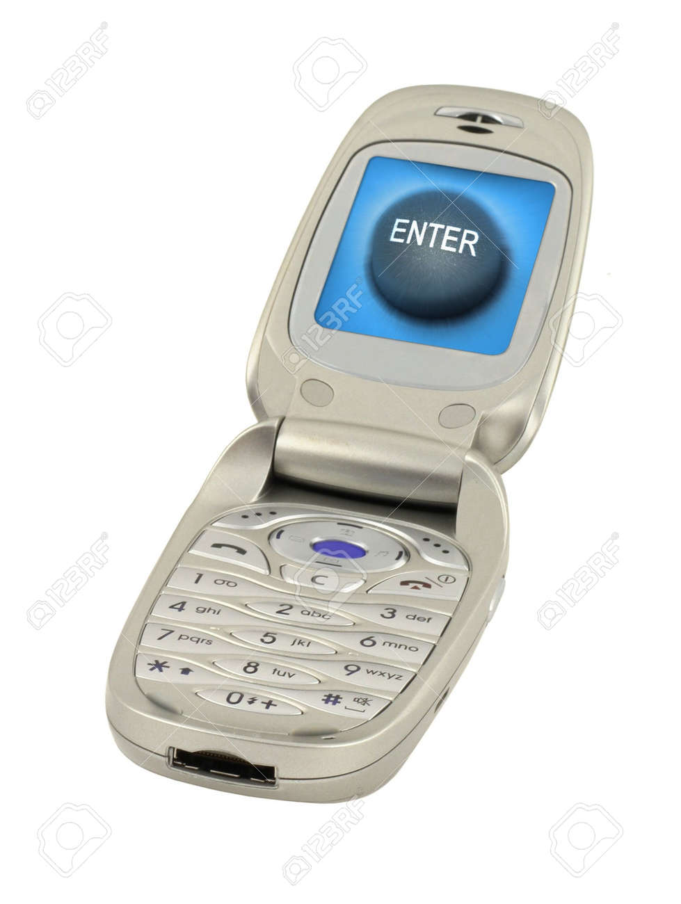 mobile phone with enter button isolated on pure white background, content on the screen is my property Stock Photo - 2571111