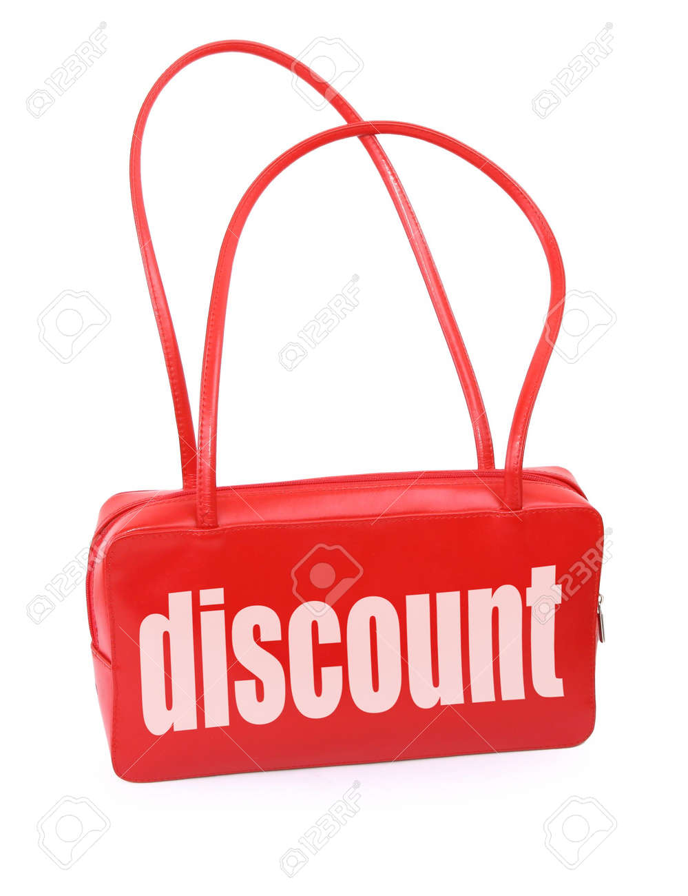 red leather handbag with discount sign, minimal natural shadow in front, the photo does not infringe any copyright Stock Photo - 2603171